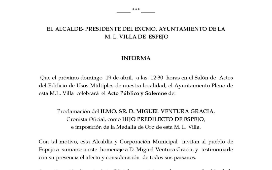 ACTO DE NOMBRAMIENTO COMO HIJO PREDILECTO DE ESPEJO DE D. MIGUEL VENTURA GRACIA 1