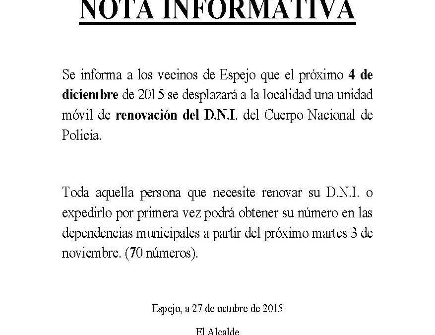 NOTA INFORMATIVA. RENOVACIÓN DEL D.N.I. EN ESPEJO. 1