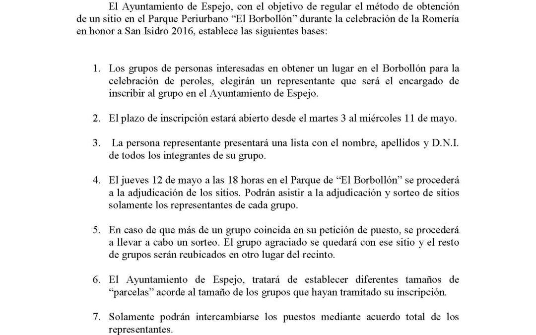 """Bases reguladoras para la obtención de un sitio en el Parque Periurbano """"El Borbollón"""" durante la celebración de la Romería en honor a San Isidro 2016."""