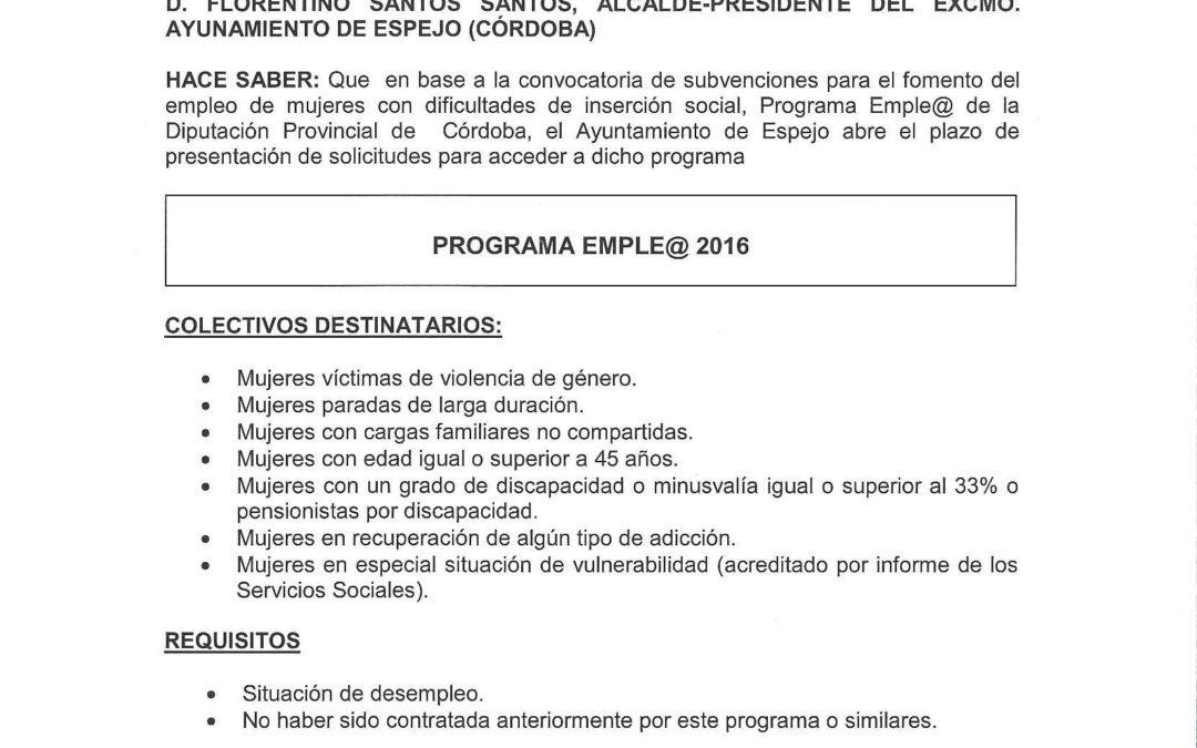 BANDO POR EL QUE SE INFORMA DE LA CONVOCATORIA DE SUBVENCIONES PARA EL FOMENTO DEL EMPLEO DE MUJERES EN DIFICULTADES DE INSERCIÓN SOCIAL. 1