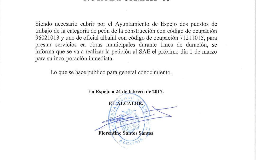 OFERTA DE EMPLEO DE 2 PEONES Y 1 OFICIAL DE ALBAÑILERÍA. 1